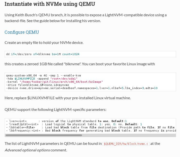 QEMU-NVMe For OpenchannelSSD and LightNVM
